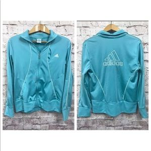 Adidas Jacket women Large Track Big Logo Teal Blue